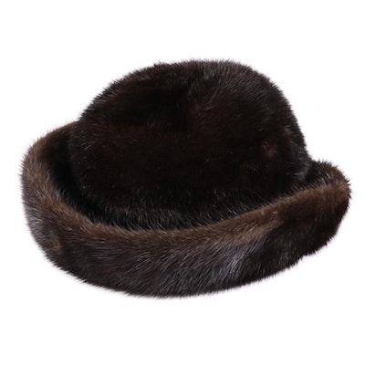 Mink Fur Bumper Hat with Box