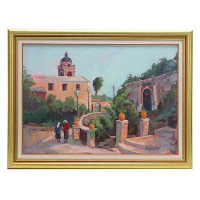 "Mary Mirabito Oil Painting ""Taormina Road with View of Saint Pancrazio,"" 2002"