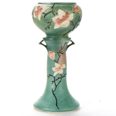 """Roseville """"Magnolia"""" American Art Pottery Jardinière on Stand, Mid-20th Century"""