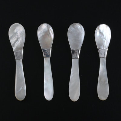 Mother-of-Pearl Caviar Spoons with Sterling Collars