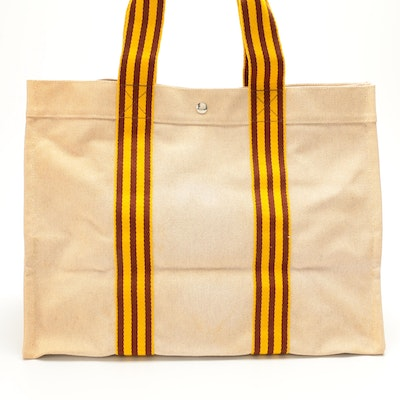 Hermès Fourre Tout GM Tote in Beige, Brown and Yellow Cotton Woven Canvas
