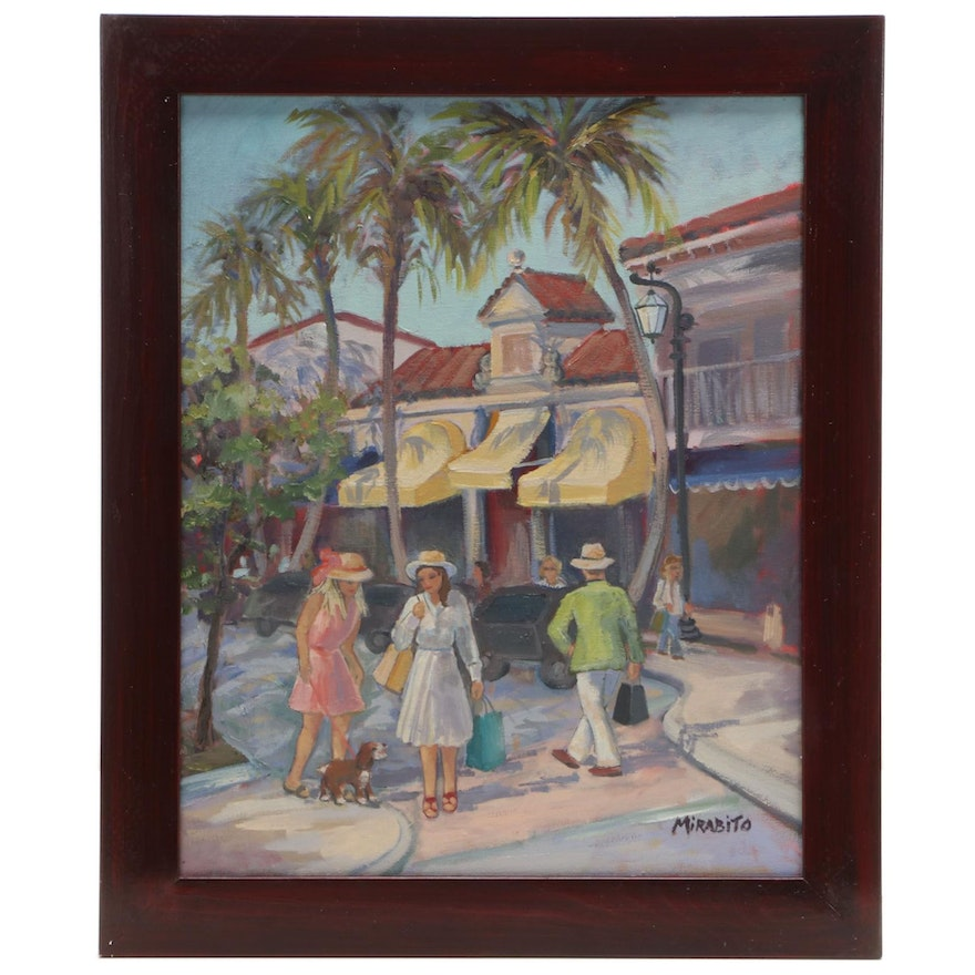 """Mary Mirabito Oil Painting """"Shopping on Worth Ave., Palm Beach, FL,"""" 2021"""