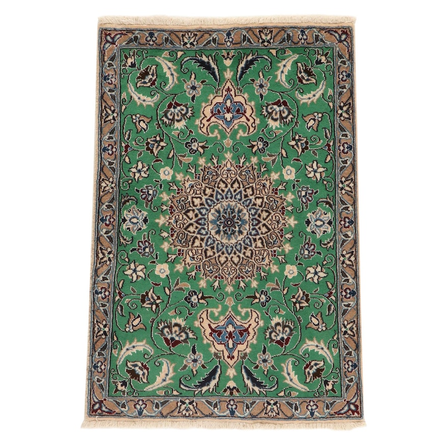 2'10 x 4'4 Hand-Knotted Persian Nain Silk Blend Rug, 2000s