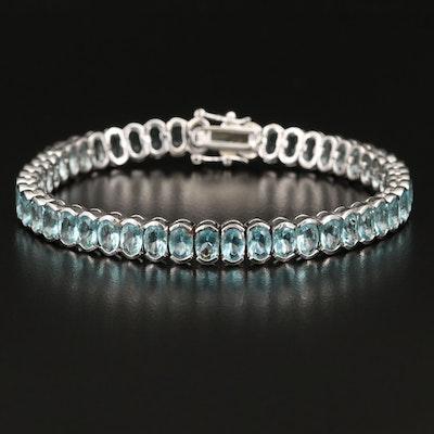Sterling Silver Faceted Glass Line Bracelet