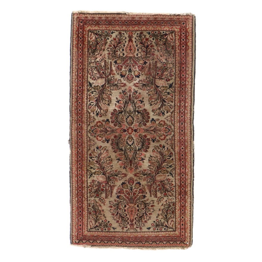 2'1 x 4' Hand-Knotted Persian Sarouk Rug, 1920s