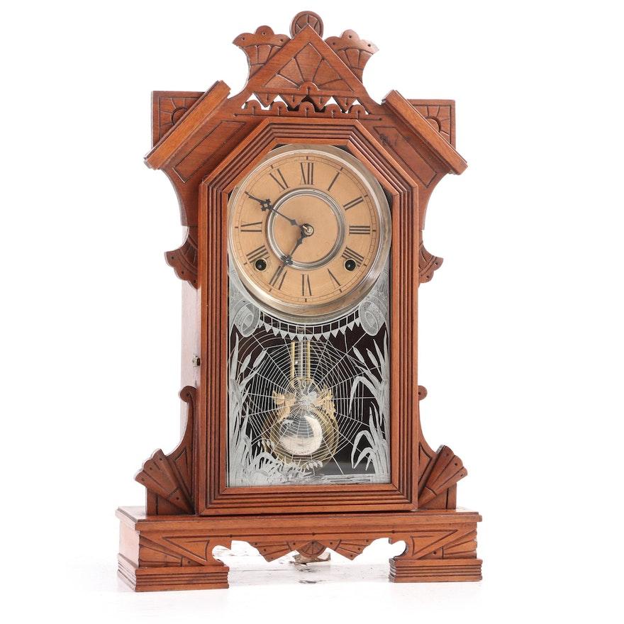 "Wm. L. Gilbert Clock Co.""Levant"" Eastlake Walnut Wood Shelf Clock, Late 19th C."