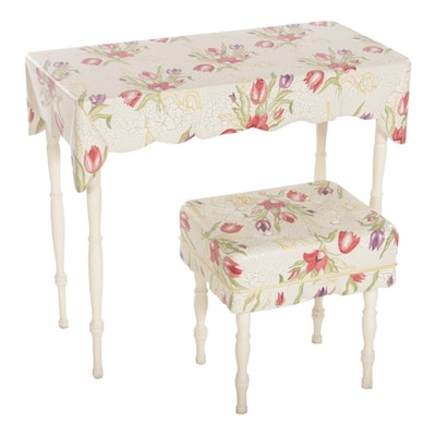 Paint-Decorated Tulip Motif Vanity with Bench