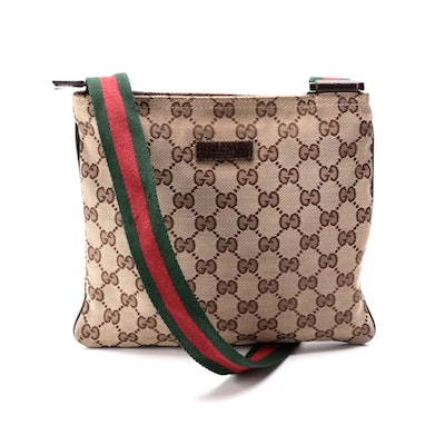 Gucci Web Crossbody in GG Canvas with Brown Leather Trim