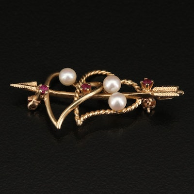 Vintage 14K Ruby and Pearl Hearts with Arrow Brooch
