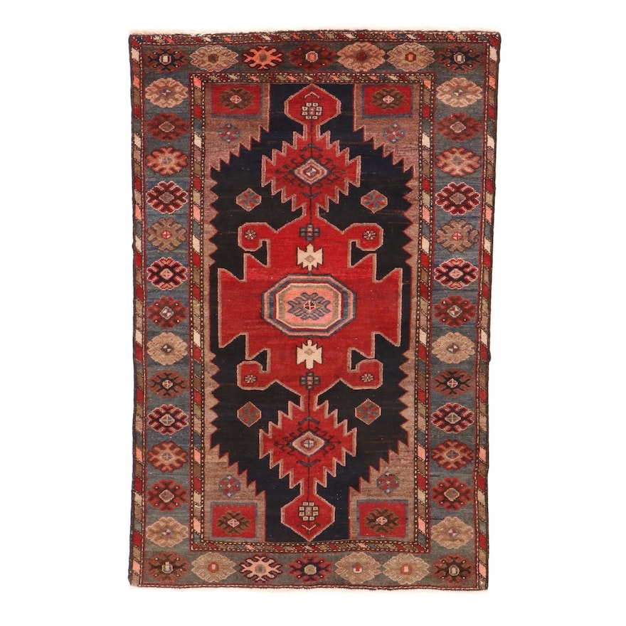 4'2 x 6'9 Hand-Knotted Northwest Persian Rug, 1940s