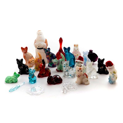 Fenton Glass for Lenox Hand-Painted Cat Figurines with Other Art Glass Items