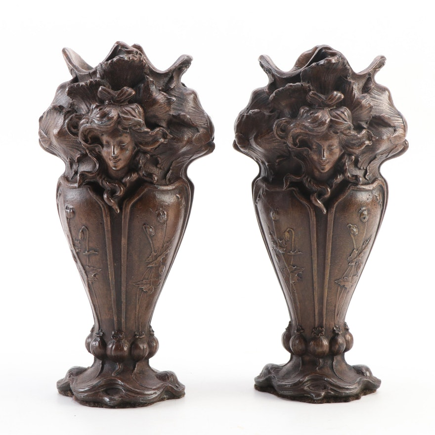 Pair of Bronze Art Nouveau Style Vases, Early 20th Century