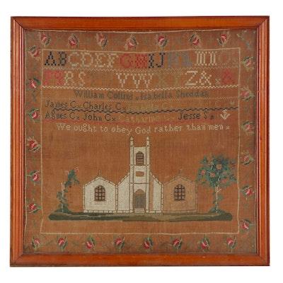 Cross-Stitch Silk Needlework Sampler, Mid-19th Century