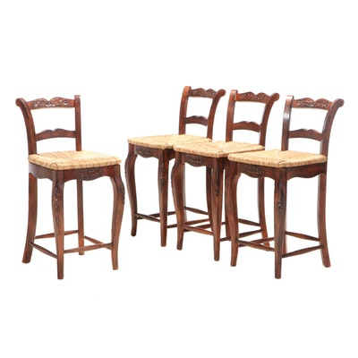 Four French Provincial Style Counter Stools