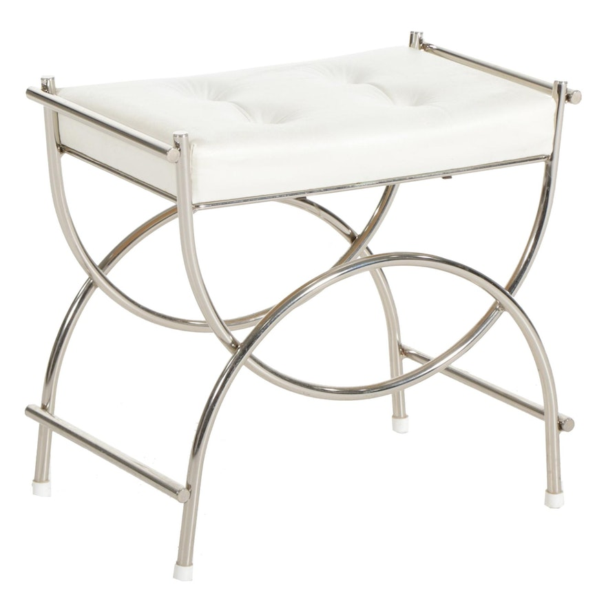 Modern Style Chrome and Faux Leather Vanity Stool, Late 20th Century