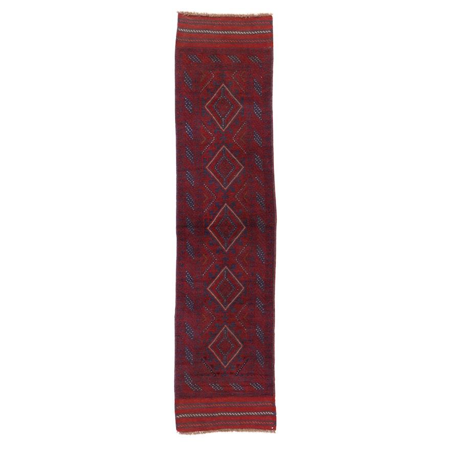 2' x 8'7 Handwoven Afghan Turkmen Mixed Technique Carpet Runner, 2000s