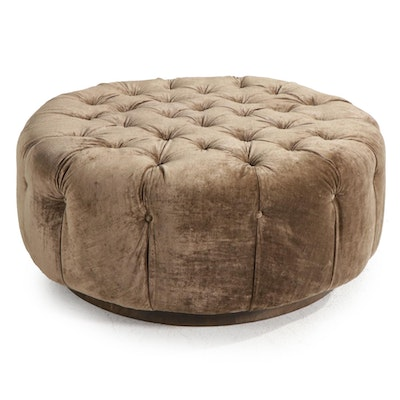 Custom Upholstered Button Tufted Ottoman