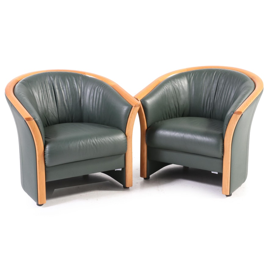 Pair of Ekornes Green Leather and Teak Tub Chairs, Late 20th Century
