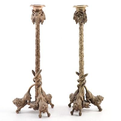 Gilt Bronze Neoclassical Lion and Ram Heads Form Candlesticks