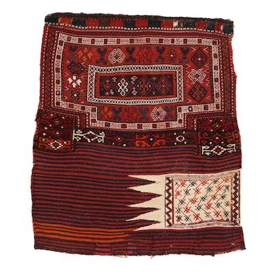 3'3 x 3'9 Handwoven Persian Bakhtiari Mixed Technique Storage Bag, 1930s