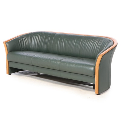 Ekornes Green Leather and Teak Sofa, Late 20th Century