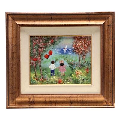 """Karen Greene Enamel Painting on Copper """"Children at Play"""""""