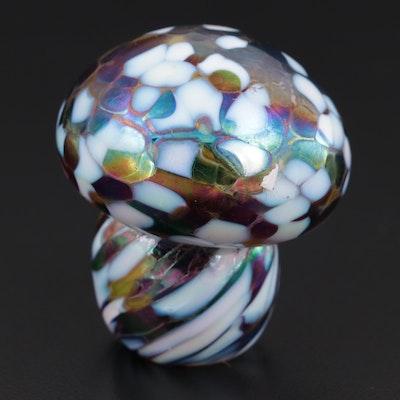 Iridescent Art Glass Mushroom Paperweight
