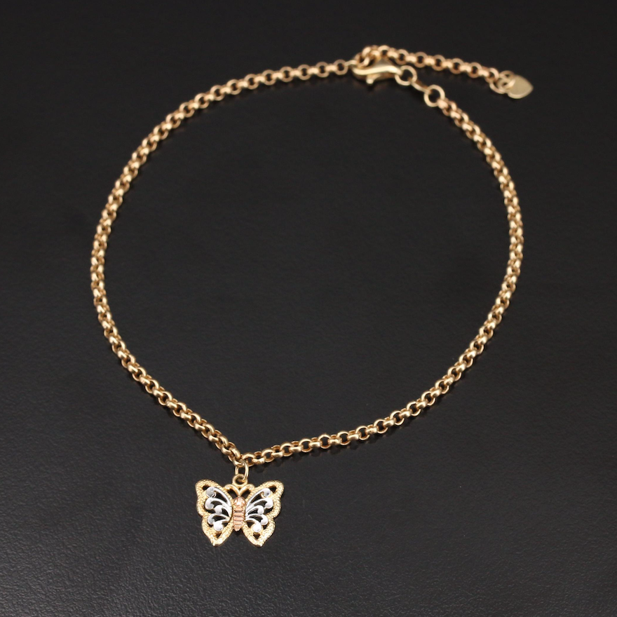 14K Anklet with Tri-Color Butterfly Charm
