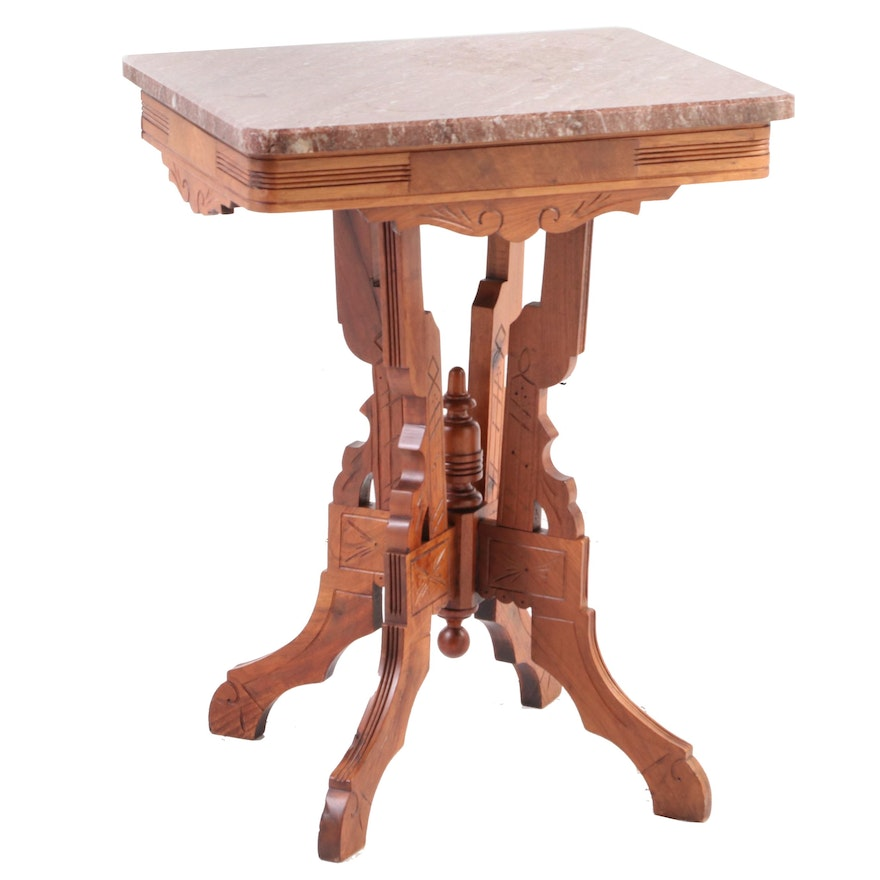 Victorian Walnut and Rouge Marble Side Table, Late 19th Century