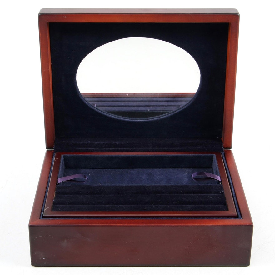 Carr's of Sheffield Repoussé Sterling Silver and Mahogany Jewelry Box