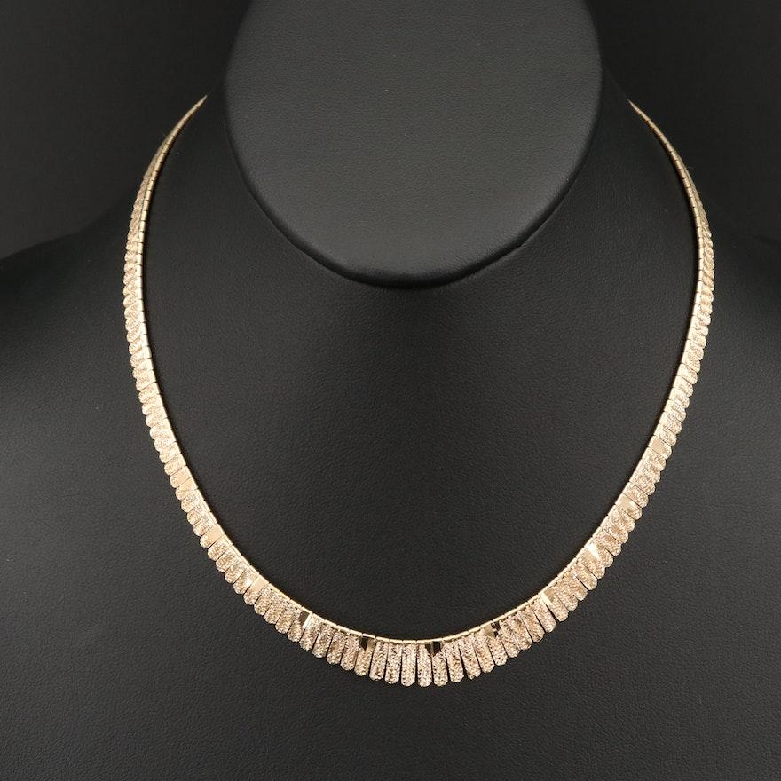 Italian 14K Diamond Cut Fringe Necklace