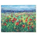 "Leira Veylin Acrylic Landscape Painting ""Poppies I,"" 21st Century"