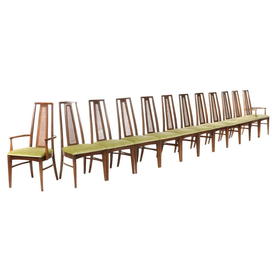 "Twelve Broyhill ""Emphasis"" Mid Century Modern Walnut Cane-Back Dining Chairs"