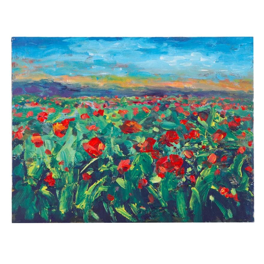 "Leira Veylin Landscape Acrylic Painting ""Poppies 2,"" 21st Century"