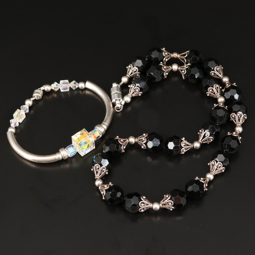 Sterling Glass Bracelet with Glass Beaded Necklace