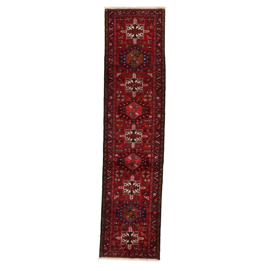 2'4 x 9'10 Hand-Knotted Persian Karaja Carpet Runner, 1960s