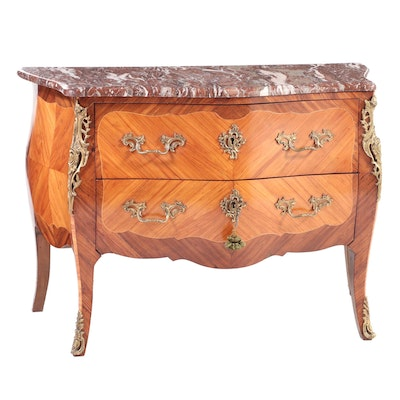 Louis XV Style Gilt Metal-Mounted Kingwood and Variegated Marble Bombé Commode