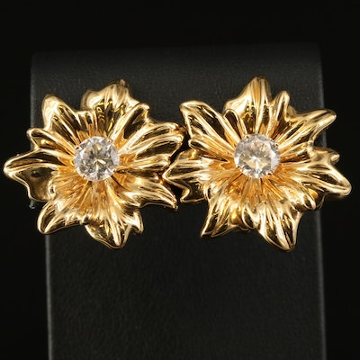 14K Cubic Zirconia Stud Earrings with Floral Jackets