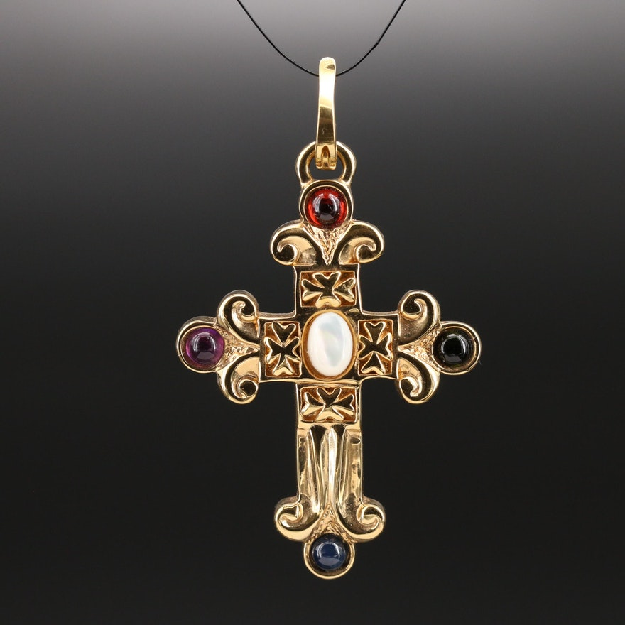 Italian 18K Mother of Pearl and Gemstone Cross Enhancer Pendant
