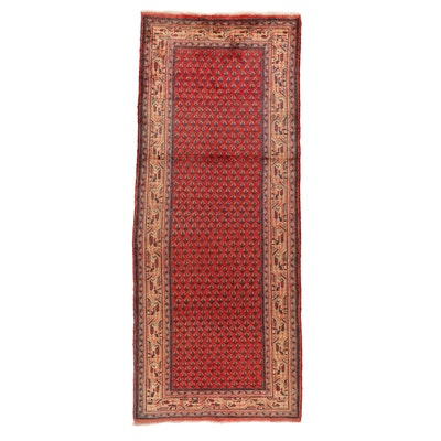 3'8 x 9'8 Hand-Knotted Persian Mir Sarouk Long Rug, 1970s
