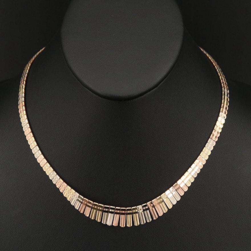 Italian 14K Tri-Color, Patterned Fringe Necklace