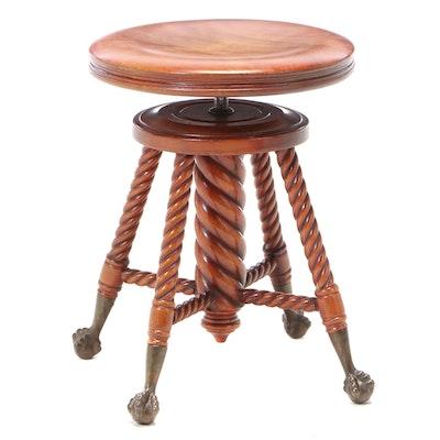 Davis Chair Co. Late Victorian Adjustable-Height Swivel Piano Stool, circa 1900