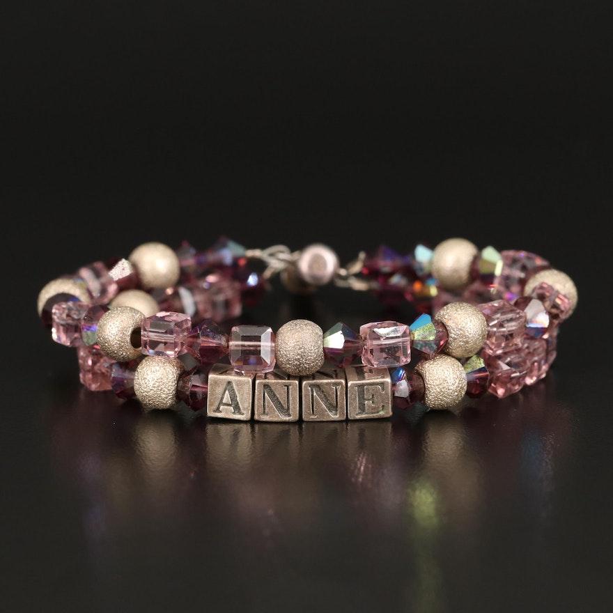 """Anne"" Glass Sterling Bracelet"