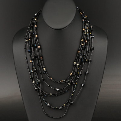 Multi-Strand Faceted Glass Necklace with Sterling Granulation and Clasp