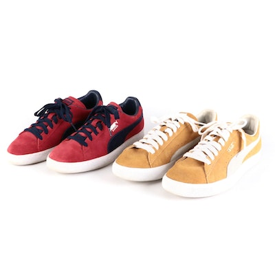 Puma Classic+ Sneakers in Red and Yellow Suede