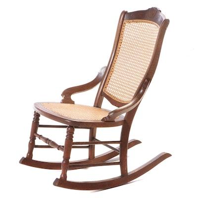 Victorian Walnut and Burl Walnut Rocking Chair, Late 19th Century