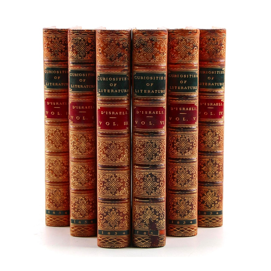 """Curiosities of Literature"" Six-Volume Set by Isaac D'Israeli, 1834"