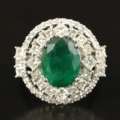 14K 4.33 CT Emerald and 2.17 CTW Diamond Ring