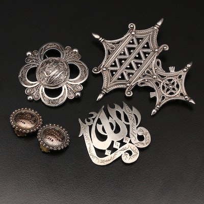 Vintage Middle Eastern Brooches and Earrings with Sterling and 900 Silver