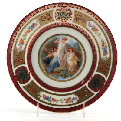Rudolstadt Royal Vienna Style Cabinet Plate, Early to Mid 20th C.